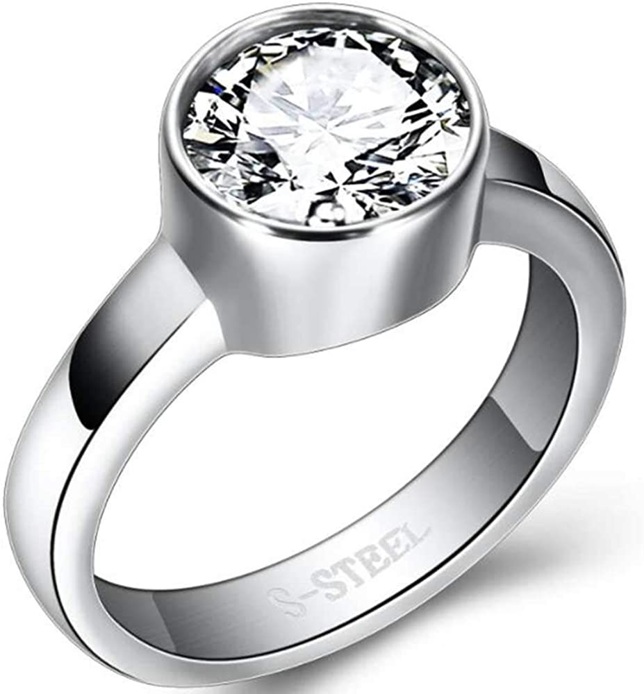 Jude Jewelers Stainless Steel Chunky Round Cubic Zircon Solitaire Wedding Engagement Proposal Ring