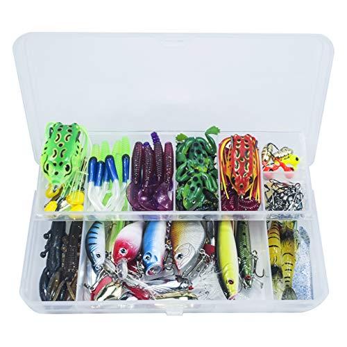 MKNZOME - Juego de 14 señuelos de pesca artificiales duros con caja de aparejos de pesca con rana de plástico suave, cucharas de anzuelo para hundir, anzuelos de pesca