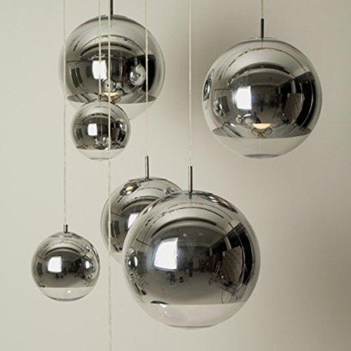 Injuicy lampen Tom Dixon Moderne E27 LED Edison ballon zilver elektroplaat hanglamp kroonluchter plafondlamp glazen lampenkap plafondverlichting voor (#A, diameter 250 mm)