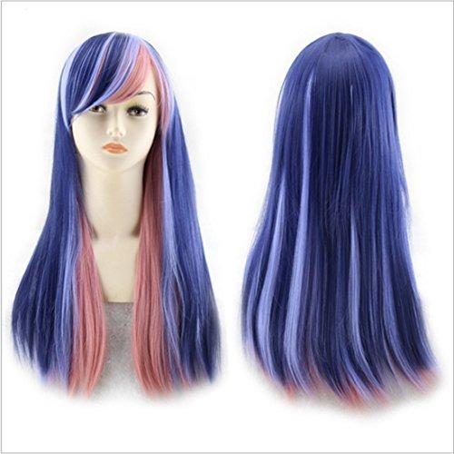 Pelucas de reemplazo de cabello 65 cm color natural mezclado pelucas for las mujeres pelo largo y recto con flequillo oblicuo pelucas resistentes al calor pelucas for Cosplay y fiesta duradero, reutil