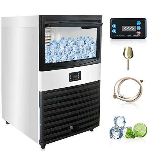 Commercial Ice Maker-opal ice machine,nugget ice maker Makes 155 Pounds Ice in 24 hrs with 44 Pounds Storage Capacity - Ideal For Home,Office,Restaurant,Bar,Coffee Shop. (Silver, 110 lbs)