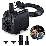 Fountain Pump, 220GPH(15W 900L/H) Submersible Water Pump, Durable Outdoor Fountain Water Pump with 7.2ft?2.2m? Power Cord, 3 Nozzles for Aquarium, Pond, Fish Tank, Water Pump Hydroponics, Fountain