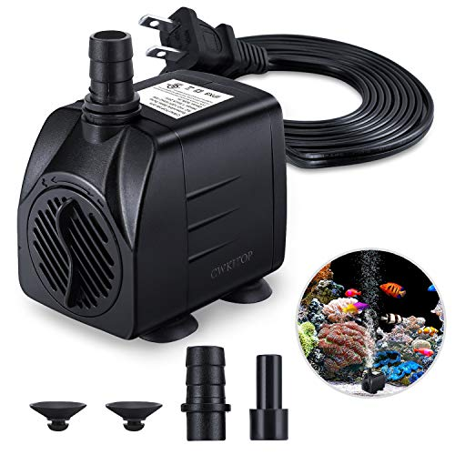 Fountain Pump, 220GPH(15W 900L/H) Submersible Water Pump, Durable Outdoor Fountain Water Pump with 7.2ft(2.2m) Power Cord, 3 Nozzles for Aquarium, Pond, Fish Tank, Water Pump Hydroponics, Fountain