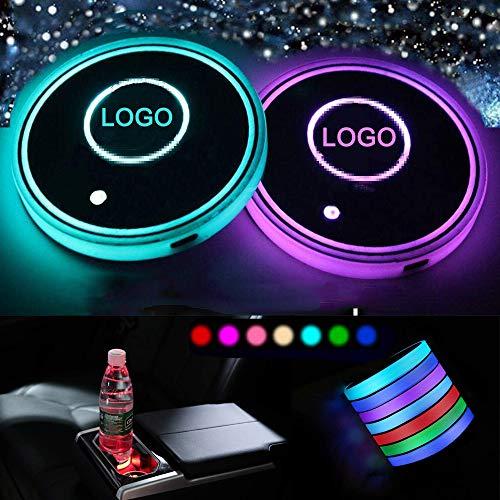 LED Resistente Impermeable Posavasos, Posavasos LED para Coche con Almohadilla de Copa luminiscente de 7 Colores, Accesorios de Posavasos Decoración Interior Ambiente Luz (Re-Nault)
