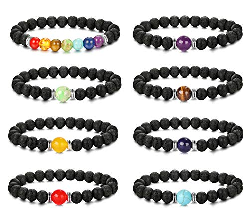 sailimue 8 Stück Lavastein Armband für Herren Damen 7 Chakra Perlen Diffusor für ätherisches Öl Armband Elastisches Heilung Reiki Yoga Armbänder