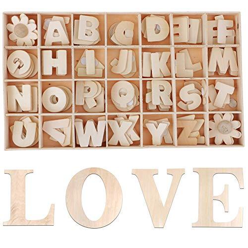 108 Pezzi Wooden Letters Fiori Set Lettere Maiuscole in Legno Lettere A-Z with Storage Tray in Legno Naturale Liscio per DIY Artigianato Scuola Decorazione