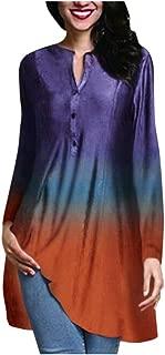 OULSEN Women New Fashion Long Blouse Multicolor Gradient Button Crewneck Long Sleeve Tunics Top Shirt Large Size