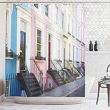 ABAKUHAUS Stadt Alte Häuser Duschvorhang, traditionelle England, Digital auf Stoff Bedruckt inkl.12 Haken Farbfest Wasser Bakterie Resistent, 175x220 cm, Mehrfarbig