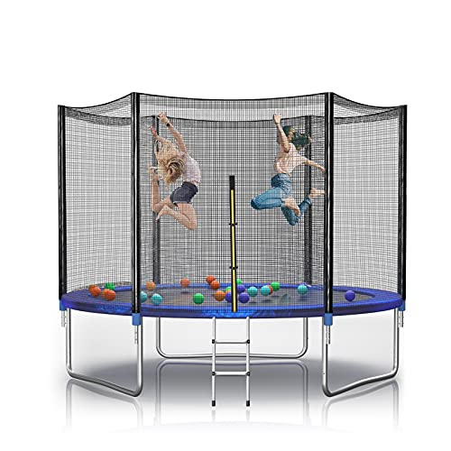 Trampoline, YAKEY 10 12 14 15FT Recreational Basketball Trampoline, Trampoline with Safety Enclosure Net, Outdoor Trampoline for Kids & Adult, Non-Slip Ladder, ASTM Approved (10 FT Blue Trampoline)…