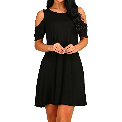 0ec94b7ac7f7 HAOMEILI Women s Summer Cold Shoulder Tunic Top Swing T-Shirt Loose Dress  with Pockets