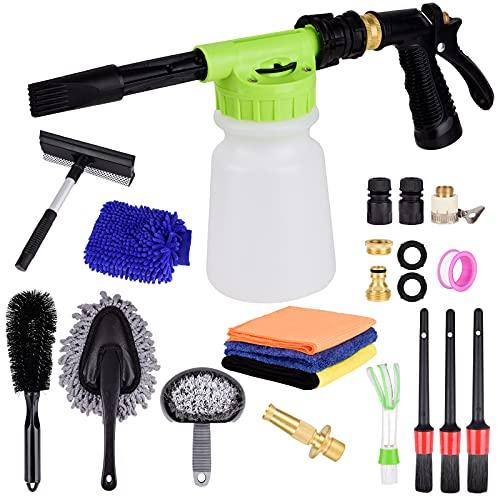 Fitosy Car Wash Kit with Foam Gun, Car Wash Foam Gun with Microfiber Towels, Car Wheel Brush & Microfiber Wash Mitts for Car Cleaning, Adjustable Car Wash Sprayer Works with Most Garden Hose