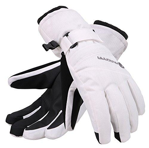 Andorra Snow Gloves Women Touchscreen Zipper Pocket Ski Gloves, White, S