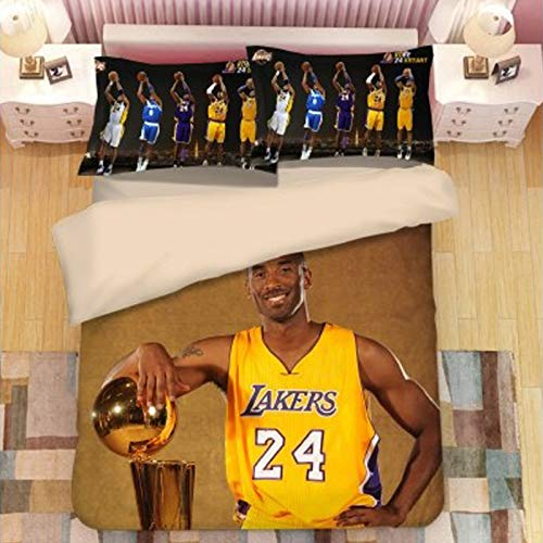 24# Kobe Lakers Basketball Duvet Cover Set Bedding Set 4 Pcs 1 Duvet Cover 1bed Sheet 2 Pillowcases, 100% Washed Cotton Duvet Cover Teenagers And Adults Basketball F style1-L