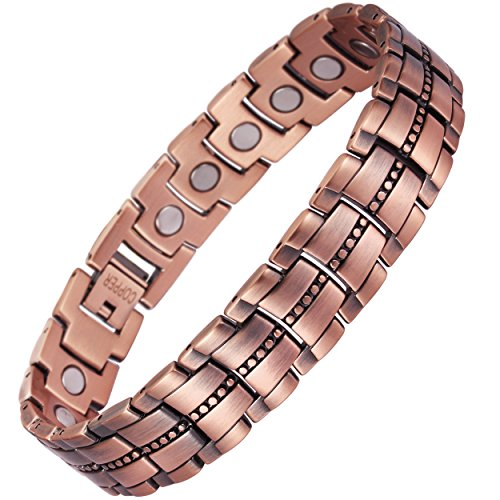 VITEROU Mens Magnetic 99.95% Pure Copper Bracelet with High Powered Magnets for Arthritis Pain Relief,3500 Gauss,8.5 Inches
