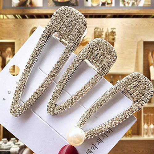 N\A 1 Set of Shiny Full Crystal Hair Clips for Women with Rhinestone Crystal Pearls Cute BB Clip Sweet Hair Clips for Women's Hair Accessories-1