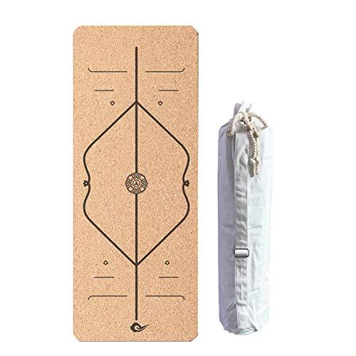 Esterilla de corcho para yoga con bolsa de algodón, eco-amigable Esterilla de ejercicio antideslizante Pilates 6.5 mm de grosor para el gimnasio en casa