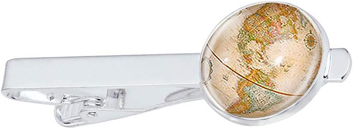 LooPoP Men Tie Clip Vintage Antique World Globe Map Stainless Tie Pins for Business Wedding Shirts Tie Clips Include Gift Box