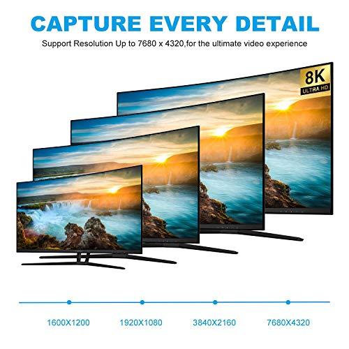 ConnBull 8K 4K HDMI 120Hz Kabel 3meter, Ultra HD HDMI zu HDMI Monitor Kabel Unterstützung 7680 x 4320, 8K@60Hz, 48 Gbit/s, HDR, HDCP für TV Beamer PC Host Laptop Graphics Card etc