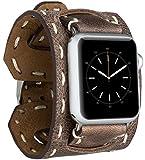 Burkley Leder Armband für Apple Watch 1/2 / 3/4 / 5 Uhrenarmband in breiter Ausführung mit Dornverschluss kompatibel mit Apple Watch 42/44mm (Antik Braun)