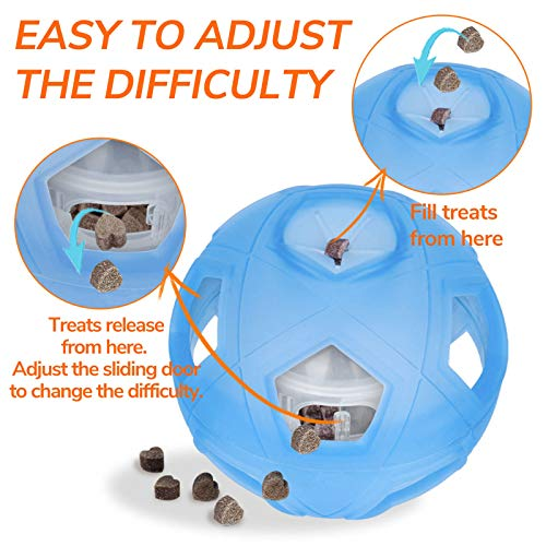 """Dog Treat Ball, 5"""" Interactive IQ Treat Dispensing Ball Toy with Adjustable Difficulty Setting for Small to Medium Dogs and Cats."""