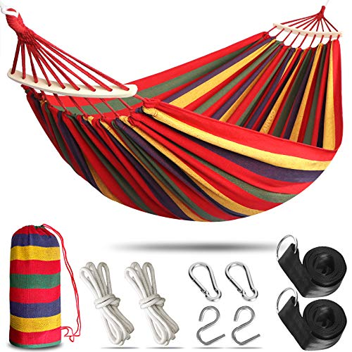 Anyoo Garden Cotton Hammock Comfortable Fabric Hammock with Spreader Bar Durable Hammock Up to 450lbs Portable Lightweight Hammock with Travel Bag,Perfect for Camping Outdoor/Indoor Patio Backyard
