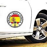 Personalidad Etiqueta engomada del coche España Mallorca Casco Motocicleta Ventana Protector solar Anti UV Calcomanía reflectante, 13cm * 13cm