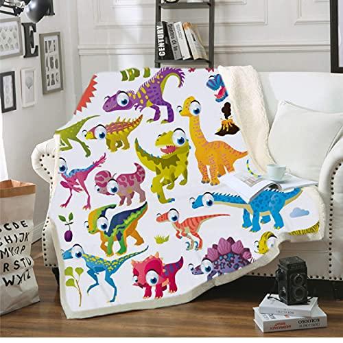 Manta de forro polar sherpa con impresión 3D de dinosaurio para niños, decoración de la habitación de niños, funda de cama de viaje, manta de camping, manta de 150 x 200 cm