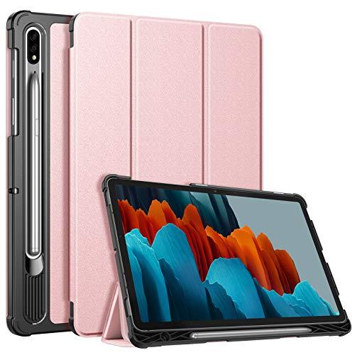 FINTIE SlimShell Funda para Samsung Galaxy Tab S7 11' 2020 con Soporte para S Pen - Carcasa Delgada y Ligera con Función de Auto-Reposo/Activación para Modelo de SM-T870/T875, Oro Rosa