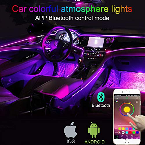 TABEN - Kit de iluminación LED para Interior de Coche con 8 Colores, Impermeable, Ambiente Interior neón Tira de Luces para Coche 1 W CC 12 V (1 Juego)