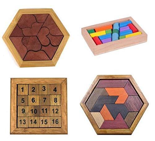 Dorime Puzzle Tabla de Madera para niños educativos de matemáticas Tangram Puzzles Juego Juguetes para Adultos Niños