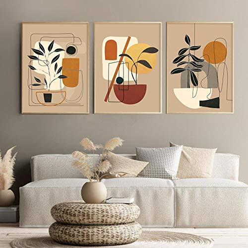 Moderno abstracto Camel ColorLeaf Boho Lienzo Impresiones Pinturas Arte de la pared Póster Impresiones Imágenes Dormitorio Decoración para el hogar-40x50cmx3 Sin marco