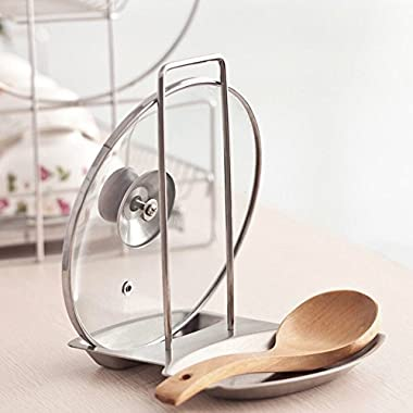 LXC Home Kitchen Stainless Steel Pan Pot Rack Cover Lid Rack Stand Spoon Holder Storage Racks
