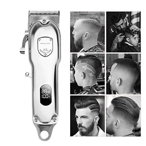 ZCFXGHH Cheveux LED Coiffeur Professionnel Tondeuse Tous Matel Cheveux électriques Tondeuse Rechargeable Machines Coupe Homme Hommes Barbe pour Hommes,Argent