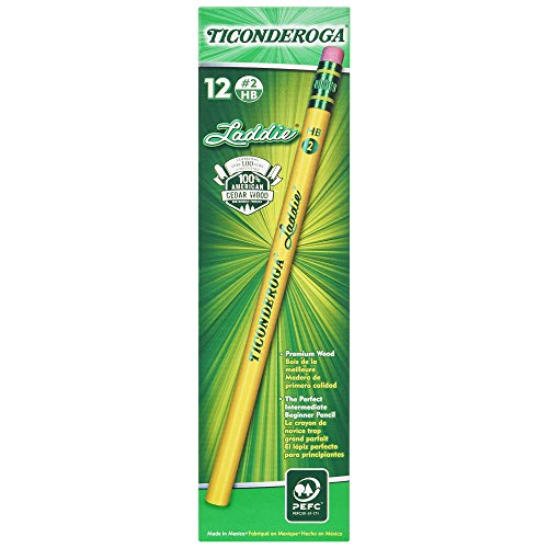 TICONDEROGA Laddie Pencils, Wood-Cased #2 HB Soft with Eraser, Yellow, 12-Pack (13304)