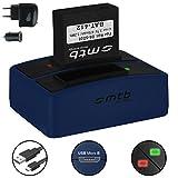 Batterie + Double Chargeur (USB/Auto/Secteur) pour Rollei DS-SD20 / Bullet 3S, 5S (WiFi) / AEE, Actionpro, BeastVision, Astak
