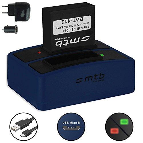 Batteria + Caricabatteria doppio (USB/Auto/Corrente) per Rollei DS-SD20 / Bullet 3S, 5S (WiFi) / AEE, Actionpro, BeastVision, Astak