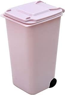 MINBB Storage Bin Dustbin Wheelie Trash Can Durable Mini Plastic 4 Color Small Scissors(Color:Lightred)