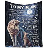 InterestPrint Personalized Love Blanket Throw to My Mom from Son, Mother's Day Blanket Gift There is no Way I can Pay You Back You are appreiated Wolf and Moon Blanket Small Size
