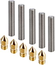 Anet A8 3D Printer Parts, 5PCS M6 MK8 30mm Length Nozzle Extruder Throat Teflon Tubes + 5PCS 0.4mm Brass Extruder Nozzle Print Heads for Anet A8 3D Printer