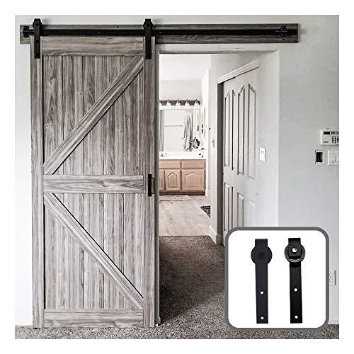 laufschienen für schiebetür set, 183cm Schiebetürbeschlag Set with Electroplated Rail Coating - J shaped roller, robust sliding door runners, smooth and quiet (door not included)