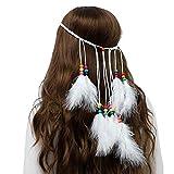 Genbree Bohemian Feather Hippie Headbands White Indian Headdress Feather Tassel Costume Headwear for Women and Girls
