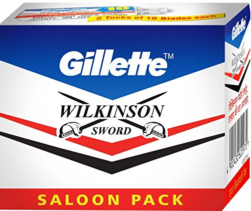 one pack (50's Blades) Gillette Wilkinson Sword Classic Double Edge Safety Razor Blades Saloon Pack