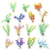 15 plantas acuáticas artificiales, pequeñas plantas de acuario, decoraciones artificiales para peceras, tanque de peces de plástico..