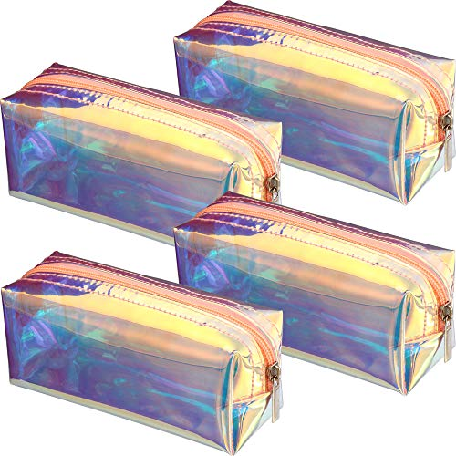 4 Pieces Holographic Makeup Bag Iridescent Cosmetic Pouch Cosmetic Bag Portable Waterproof Toiletries Bag for Women Girls