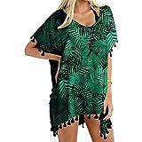 Vestido de playa de gasa para mujer, para verano, bikini, poncho para la playa, con borlas, vestido de playa, traje de baño de verano, camiseta Negro_#7b 6 1/2 HS
