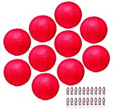Red Paper Lanterns Decorative Party Lanterns - Hanging Paper Lanterns with Lights - Chinese Lanterns Decorations by Mudra Crafts Round 12 Inches Pack of 10