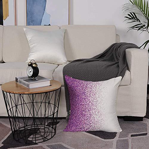 Kissenbezug 50 x 50cm Sofa Büro Dekor Kissenhülle aus Polyester,Magenta-Dekor, Computer Art Style Fliesen Mosaik Quadrat komplexe Pixel Party Mix Art Konz,mit Verstecktem Reißverschluss - ohne Füllung