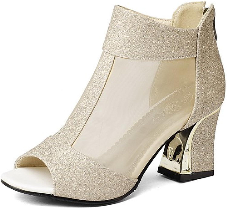 BalaMasa Womens Zipper Chunky Heels Peep-Toe Microfiber Heeled Sandals