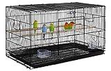 Yaheetech Cage Oiseau Cage d'elevage Cage pour Perruches Pinsons Cockatiels Conures Inséparables Canaris Perroquets Noir
