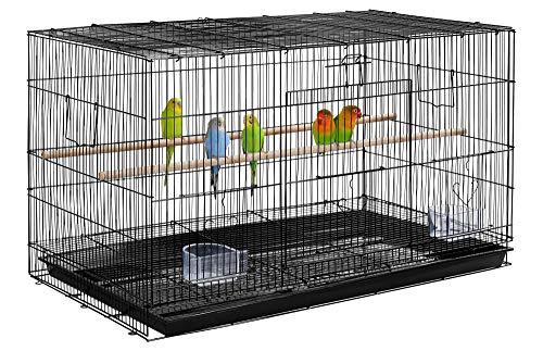 Yaheetech Gabbia Voliera per Uccelli Pappagalli Inseparabili impilabile in Metallo e Posatoi in Legno 77.5 x 46.5 x 46cm Nera